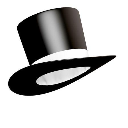 Big black cylinder hat with white ribbon  Stock Photo