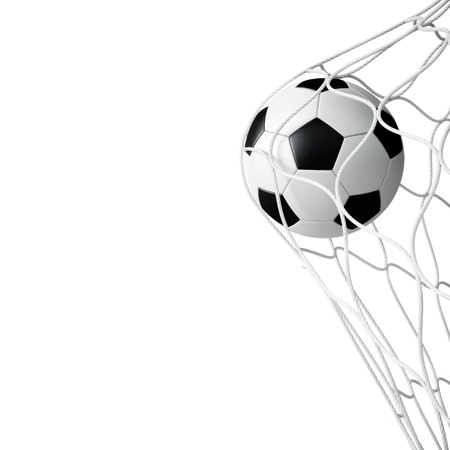 Soccer ball in net on white background