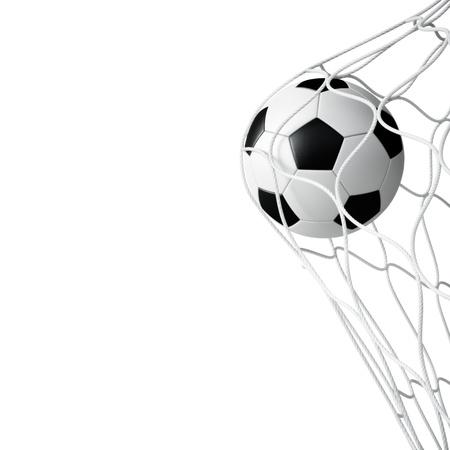 3d ball: Soccer ball in net on white background