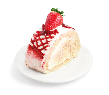 Fresh and sweet strawberry cake on white plate photo
