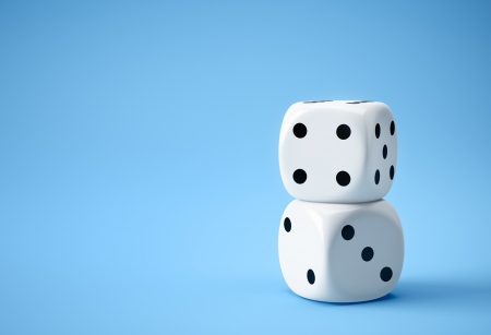 better chances: two big white dices on blue background