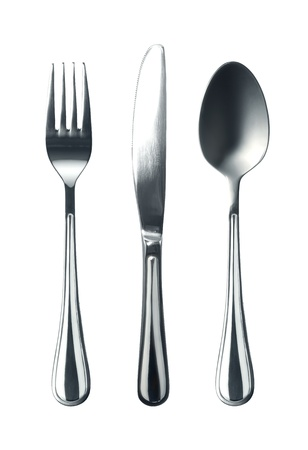 spoon fork: Photo of fork knife and spoon on white background