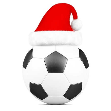 santa hat on a soccer ball isolated on white background photo