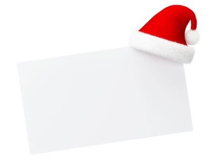 empty card with santa christmas hat on white background Stock Photo