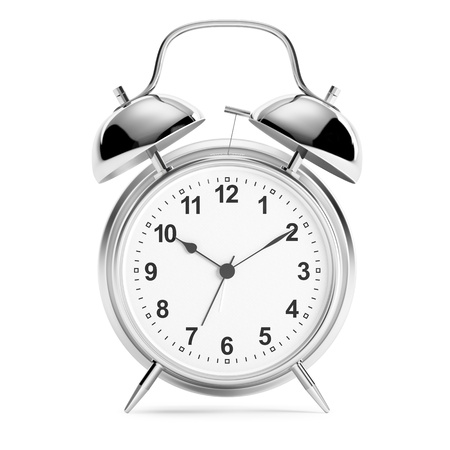 beat the clock: alarm clock on white background Stock Photo
