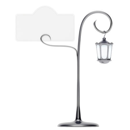 cardholder: Antique lamp post with card holder on white background Stock Photo