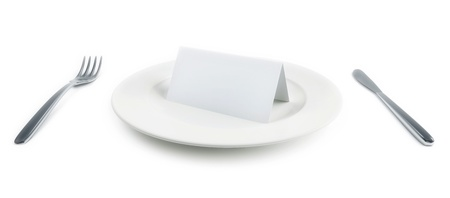 plate with paper card on white background photo