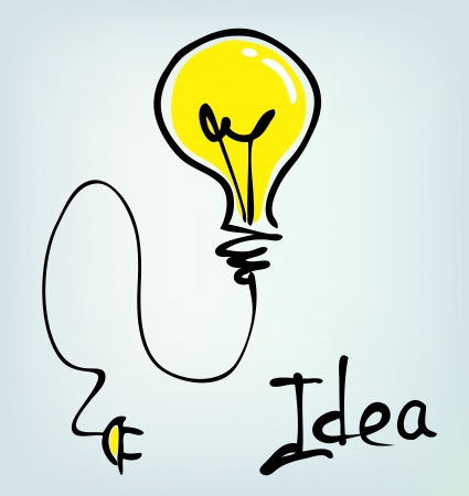 flash light: bulb hand drawn idea  Illustration