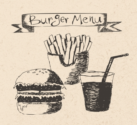 burger menu hand drawn illustration on recycled paper texture Stock Vector - 19391620