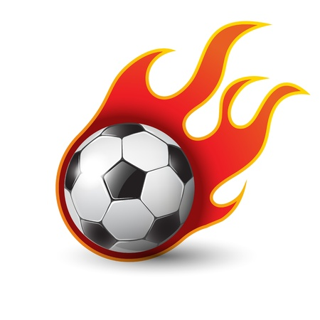 burning soccer ball on white illustration