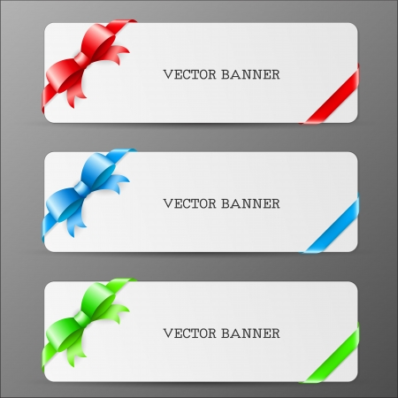 cards with bow and ribbon in red green and blue colors  Vector