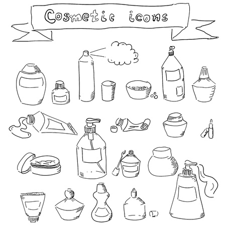 collection of hand-drawn cosmetic containers Vector