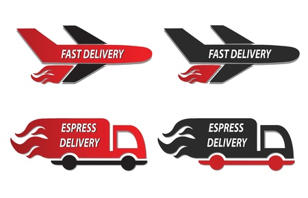 speedy: fire truck and plain delivery icons illustration