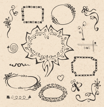 incomplete: frames and design elements collection hand drawn on recycled paper texture Illustration