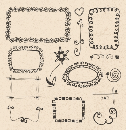 frames and design elements collection hand drawn on recycled paper texture Vector