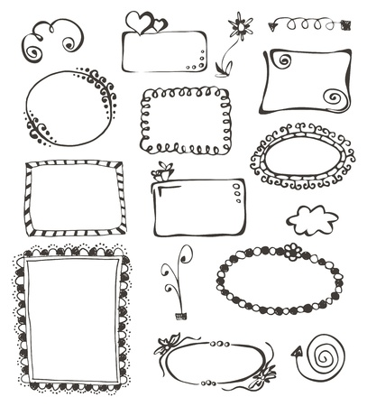 cute border: cornici ed elementi di design collezione disegnata a mano su bianco Vettoriali