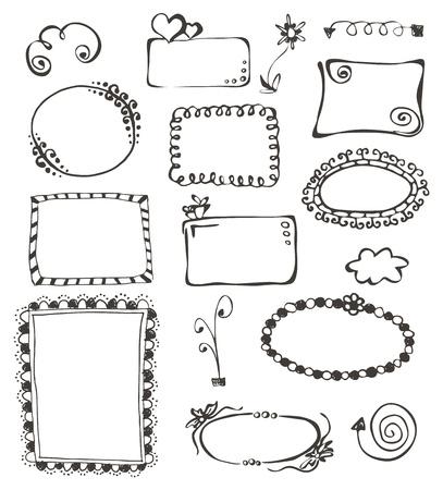frames en design elementen collectie met de hand getekend op wit Stock Illustratie
