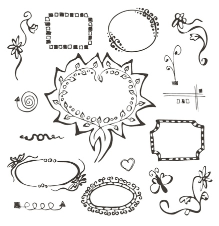 hand tag: frames and design elements collection hand drawn on white