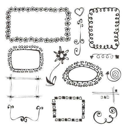 frames and design elements collection hand drawn on white Vector
