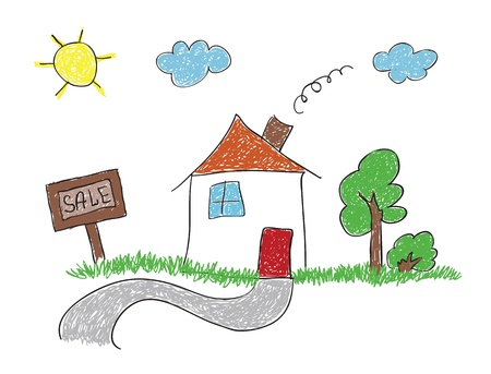 house for sale: hand drawn sketch house for sale