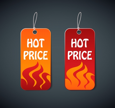 hot price: hot price labels with fire  Illustration