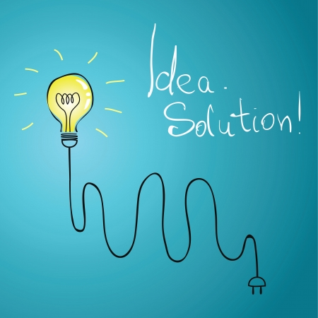 energysaving: idea bulb with wire illustration