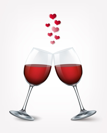 love card with two wine glasses illustration