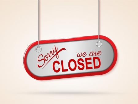 closed sign: metal closed sign eps10 illustration Illustration