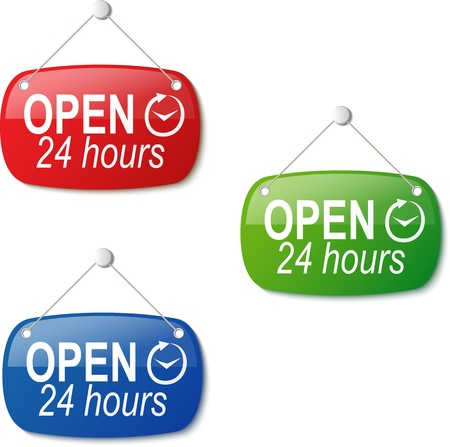 open 24 hours signs in red green and blue on white illustration Stock Vector - 19390223