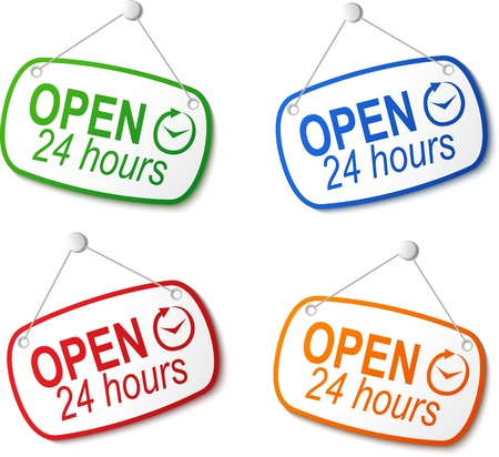 open 24 hours signs on white illustration Stock Vector - 19390276