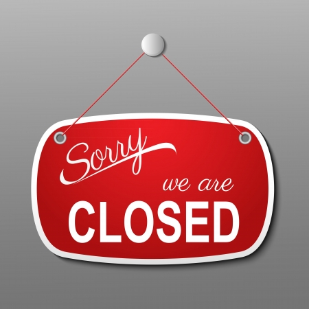 closed business: red closed sign illustration
