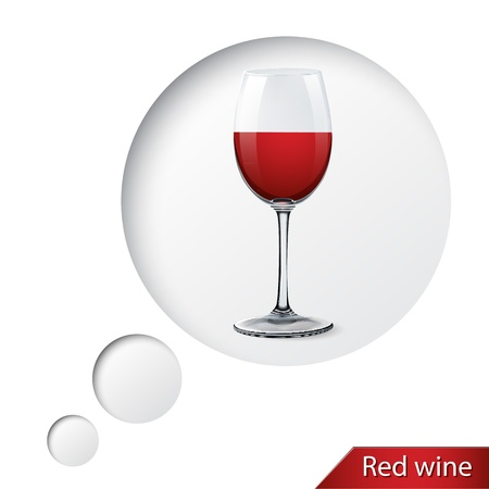 red wine glass on grey background with circles illustration Vector