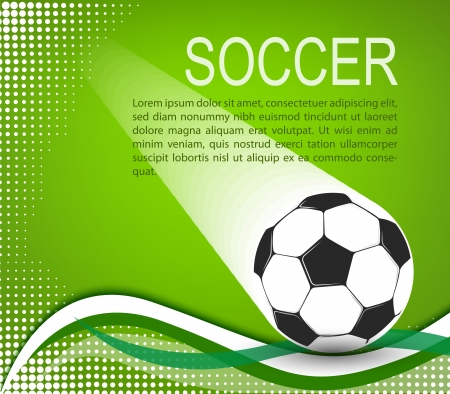 soccer ball in the green background with curves and halftones  illustration