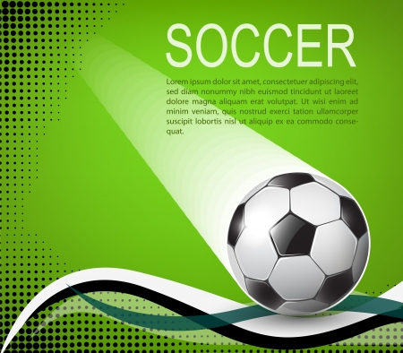 dynamic activity: soccer ball on green background with black halftones illustration