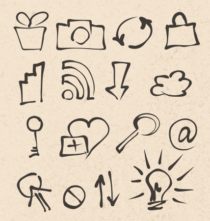 web icons hand drawn on recycled paper texture Stock Vector - 19390158