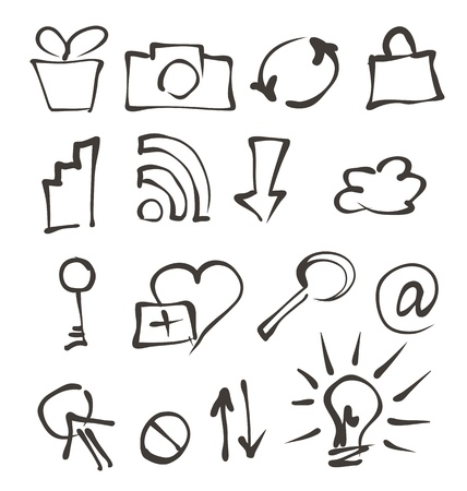web icons hand drawn on white Stock Vector - 19390089