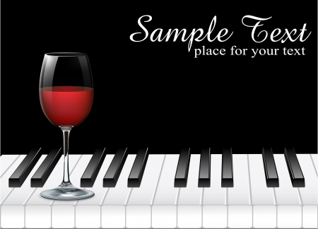 black piano: wine glass and piano key on black background  illustration