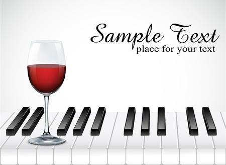 romanticismo: bicchiere di vino e il tasto di pianoforte su sfondo bianco illustrazione Vettoriali