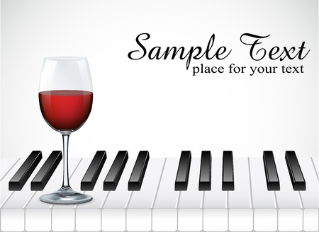 wine glass and piano key on white background illustration Illustration