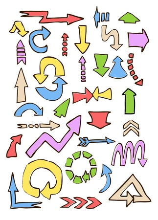 arrows different shape hand draw in colors on white   Stock Vector - 19392366