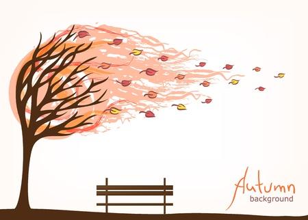 podzim pozadí se stromem a lavice
