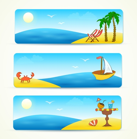 coconut crab: beach banners with hand drawn design