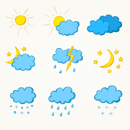 weather hand drawn icon set  Vector