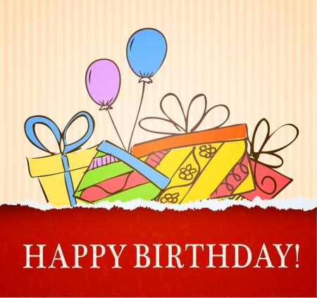 birthday present: birthday card hand drawn with gifts illustration
