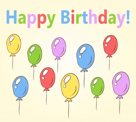 birthday card hand drawn with balloons  Vector