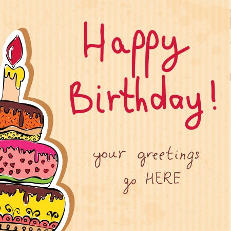 birthday: birthday card hand drawn with cake on paper texture illustration