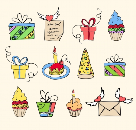 birthday elements hand drawn set  Vector