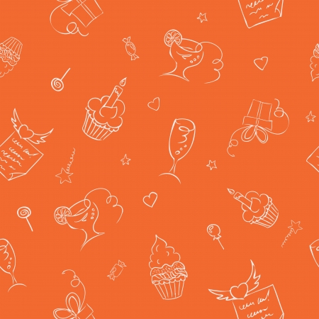 cone cake cone: birthday hand drawn icons seamless