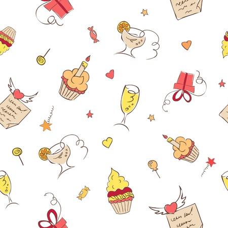 birth day: birthday hand drawn icons seamless