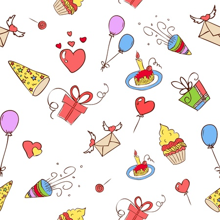 birthday hand drawn icons seamless eps 8 Illustration